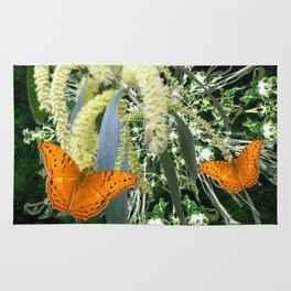 butterflies and wattle with green abstract bouquet Rug