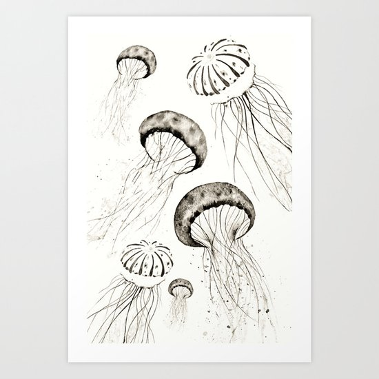 jelly fishes black and white Art Print