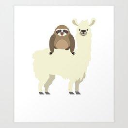 Cute & Funny Sloth Riding Llama Art Print