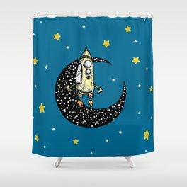 Spaceship Karen and moon Shower Curtain