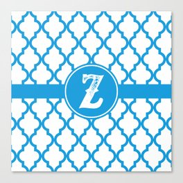Blue Monogram: Letter Z Canvas Print