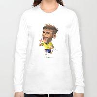 neymar Long Sleeve T-shirts featuring Minirobguns Neymar by Robin Gundersen