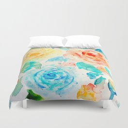Watercolor Abstract Floral Pattern Red Orange Blue Roses Duvet Cover