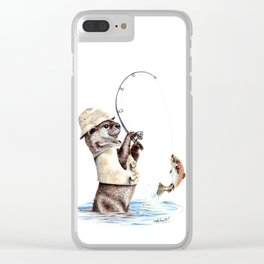 """"""" Natures Fisherman """" fishing river otter with trout Clear iPhone Case"""