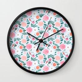 Cute Pink & White floral Paint Light blue design  Wall Clock