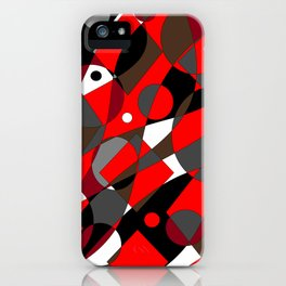 Abstract, Retro Red, Brown, Gray and Black iPhone Case