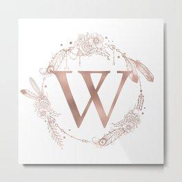 Letter W Rose Gold Pink Initial Monogram Metal Print