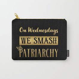 Black and Gold, On Wednesdays We Smash the Patriarchy Carry-All Pouch
