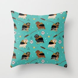 dachshund witch wizard magic wiener dog gifts Throw Pillow