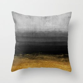 Black and Gold grunge stripes on modern grey concrete abstract background - Stripe -Striped Throw Pillow