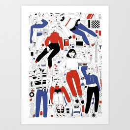 red and blue collection Art Print