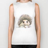 hedgehog Biker Tanks featuring Hedgehog by Bwiselizzy
