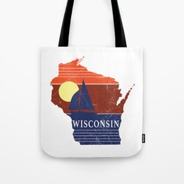 Wisconsin State WI Sailboat Sunset Print Tote Bag