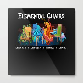Elemental Chairs Chairs Fire Earth Metal Print
