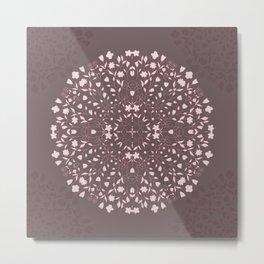 Flower Mandala in Pink and Deep Taupe Metal Print