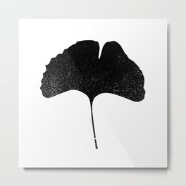 Ginko Leaf Silhouette Metal Print