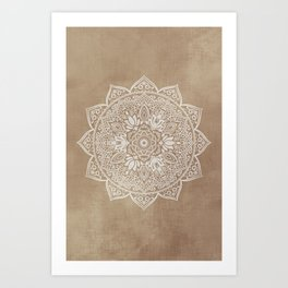 Mandala Brown Beige Creamy Pattern Art Print