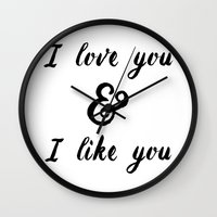 parks and rec Wall Clocks featuring I Love You and I Like You- Ben & Leslie, Parks and Rec by Genuine Design Co.