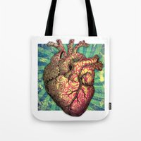 anatomical heart Tote Bags featuring Anatomical heART by Li9z