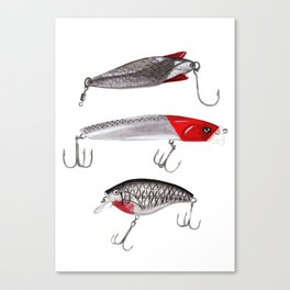 Red and Silver Fishing Lures Canvas Print