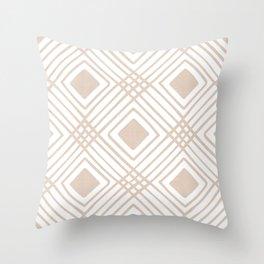 Criss Cross Diamond Pattern in Tan Throw Pillow
