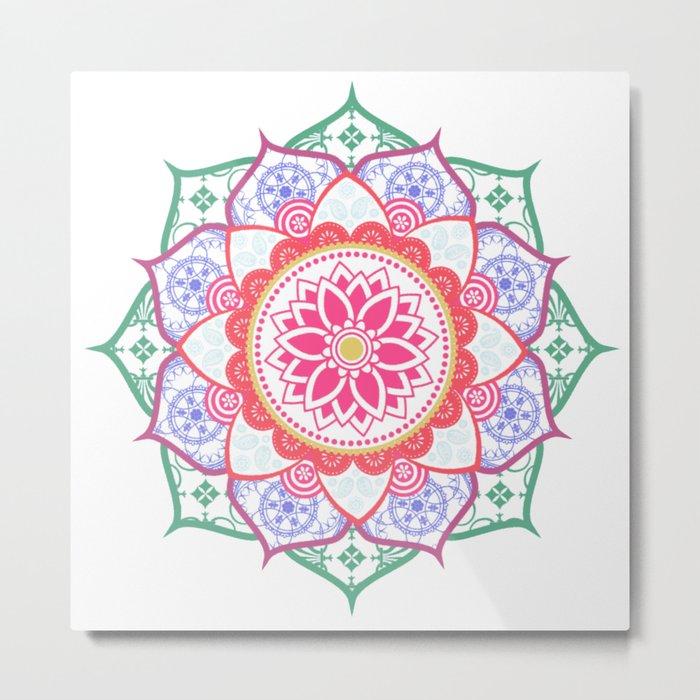 Decorative Coloured Flower Mandala Green Purple Blue Pink Metal Print
