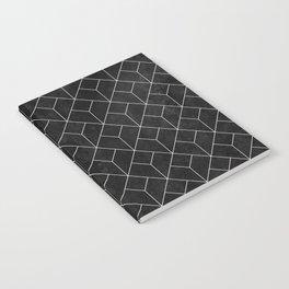 White Art Deco pattern on black ink Notebook