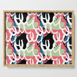 Modern pink lime white abstract pop art illustration Serving Tray