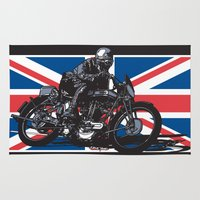 cafe racer Area & Throw Rugs featuring NORTON TT RACER | DARK by Ernie Young