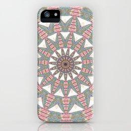 Soft Warm Pink Geometric Weaving Boho Mandala iPhone Case