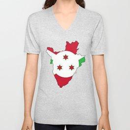 Burundi Map with Burundian Flag Unisex V-Neck