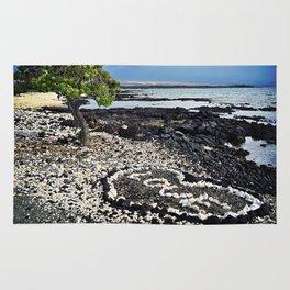 "Hawaii Black Sand Beach & Coral ""Love"" Heart Photo Rug"