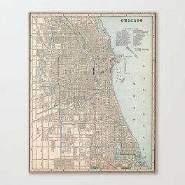 Vintage Map of Chicago (1893) Canvas Print