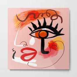 Face Blush Pink Abstract Metal Print