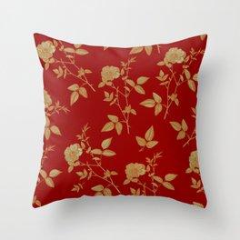 GOLDEN ROSE FLOWERS ON BURGUNDY Throw Pillow