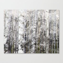 Abstract Silver Grunge Birch Canvas Print
