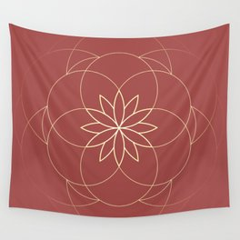 Minimalist Sacred Geometric Golden Flower in Terracotta Color, Sacred Geometry Luxury Symbol Wall Tapestry