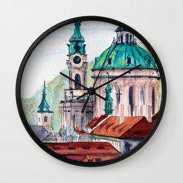 Prague Czech Republic watercolor Wall Clock