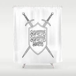Crossed Swords and Shield Outline Shower Curtain