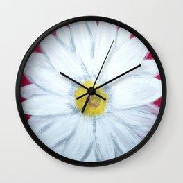 Daisy on Crimson Wall Clock