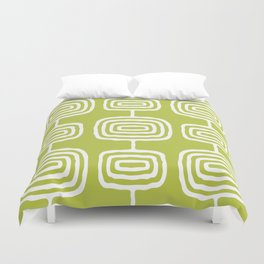 Mid Century Modern Atomic Rings Pattern 771 Green Duvet Cover