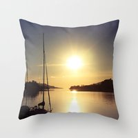 boat Throw Pillows featuring Boat by JoanaRosaC