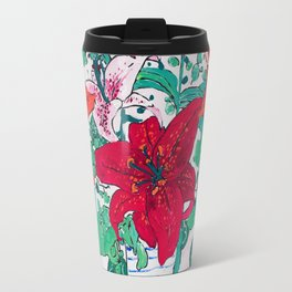 Tropical Lily Bouquet in Delft Vase with Matisse Leaf Cutout Background Travel Mug