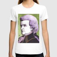 mozart T-shirts featuring Wolfgang Amadeus Mozart by Joseph Walrave