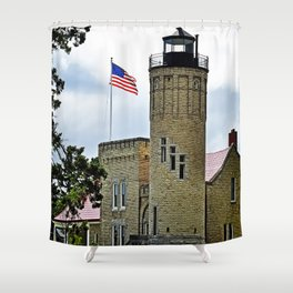 Mackinaw City Lighthouse Shower Curtain