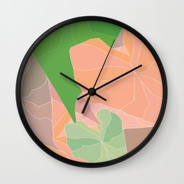 Heart Leaves Abstract Botanical Illustration Wall Clock