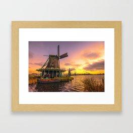 zaanse schans windmill village Framed Art Print