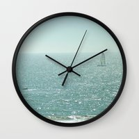 sailing Wall Clocks featuring Sailing by Catherine Holcombe