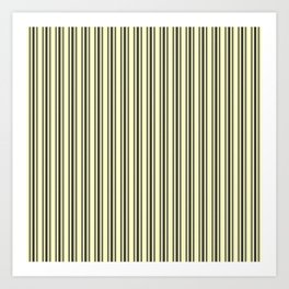 Large French Cream Mattress Ticking Black Double Stripes Art Print