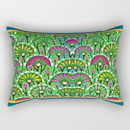 Teal-Green Colored Stylized Palmetto Floral Garden  Abstract Rectangular Pillow